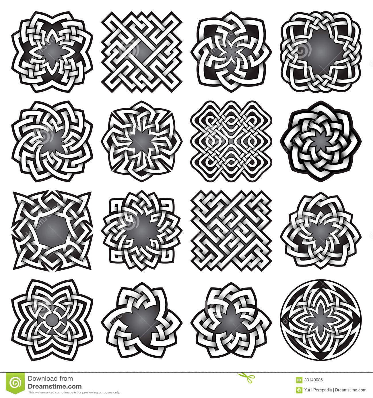 Set of abstract sacred geometry symbols in celtic knots style set of abstract sacred geometry symbols in celtic knots style braid black biocorpaavc Choice Image