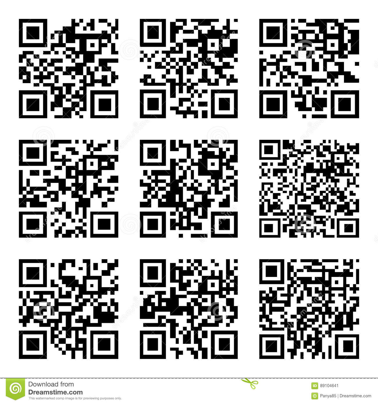 Set Of Abstract Scan Codes Stock Vector Illustration Of Symbol