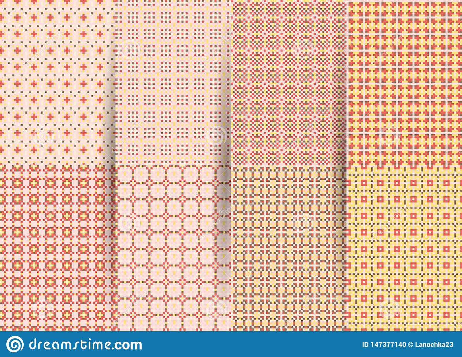 Set of 6 abstract seamless checkered geometric patterns. Vector pink geometric ackground for fabrics, prints, children`s clothes.