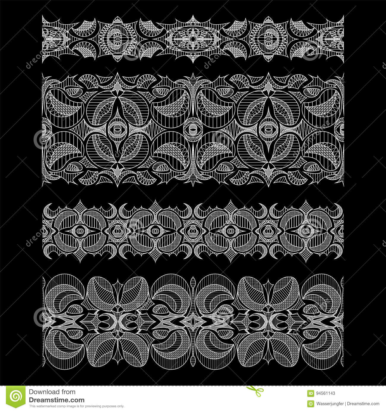 Set Of Abstract Seamless Embroidery Lace Ribbons Stock