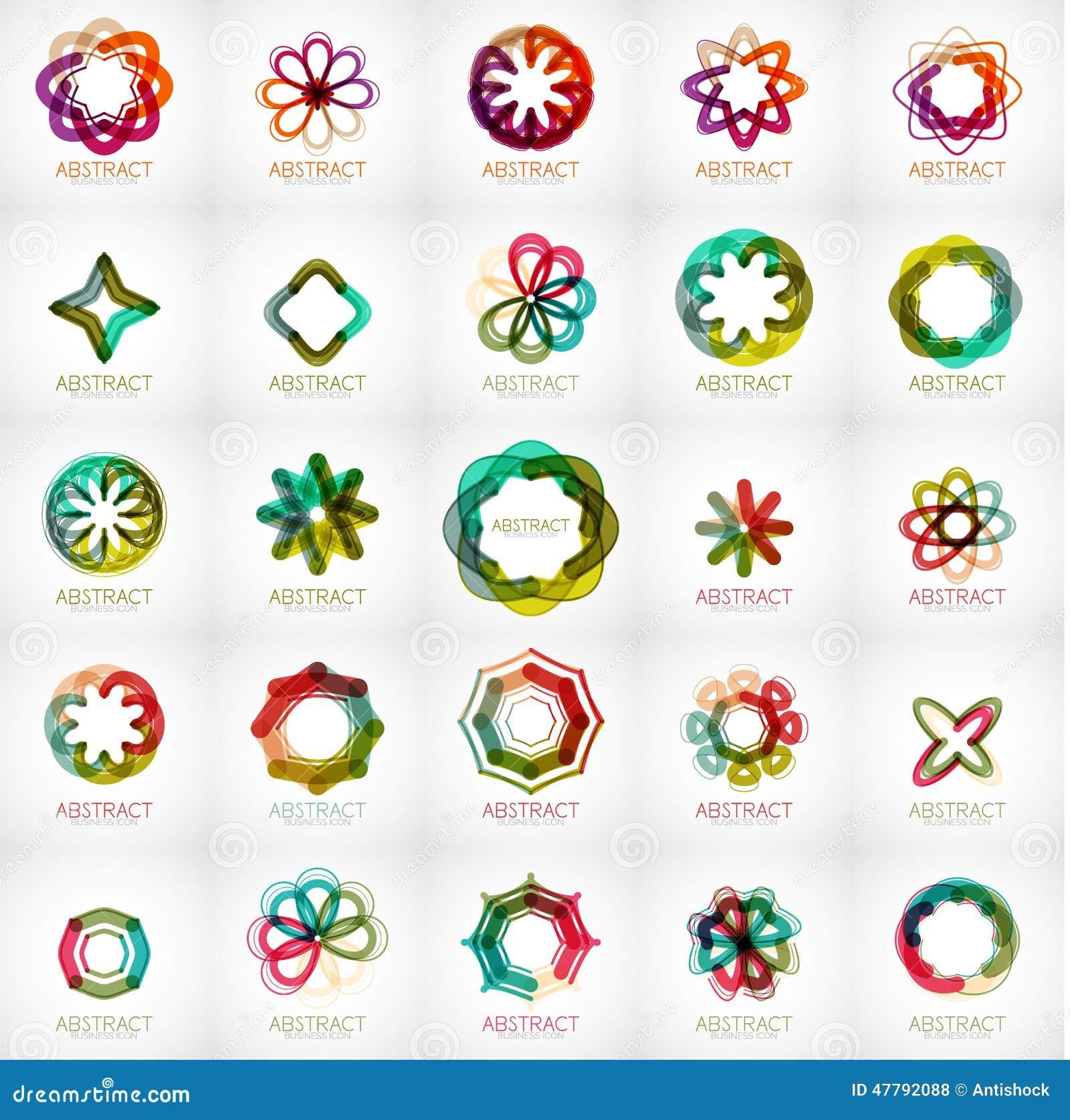 Set Of Abstract Star Flower Shape Logos Stock Vector