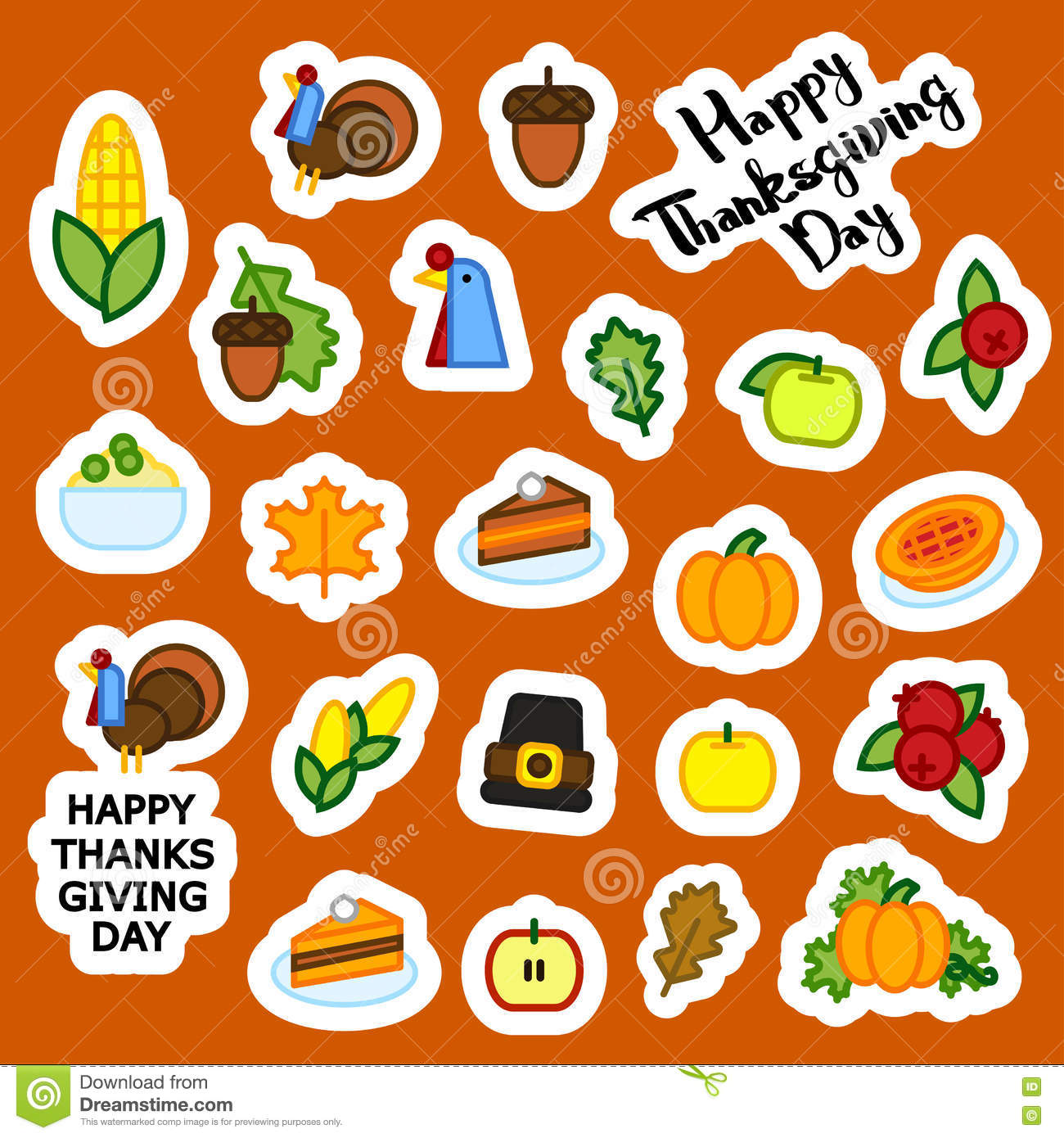 Set Of Abstract Sticker Thanksgiving Day Icon Holiday Symbols