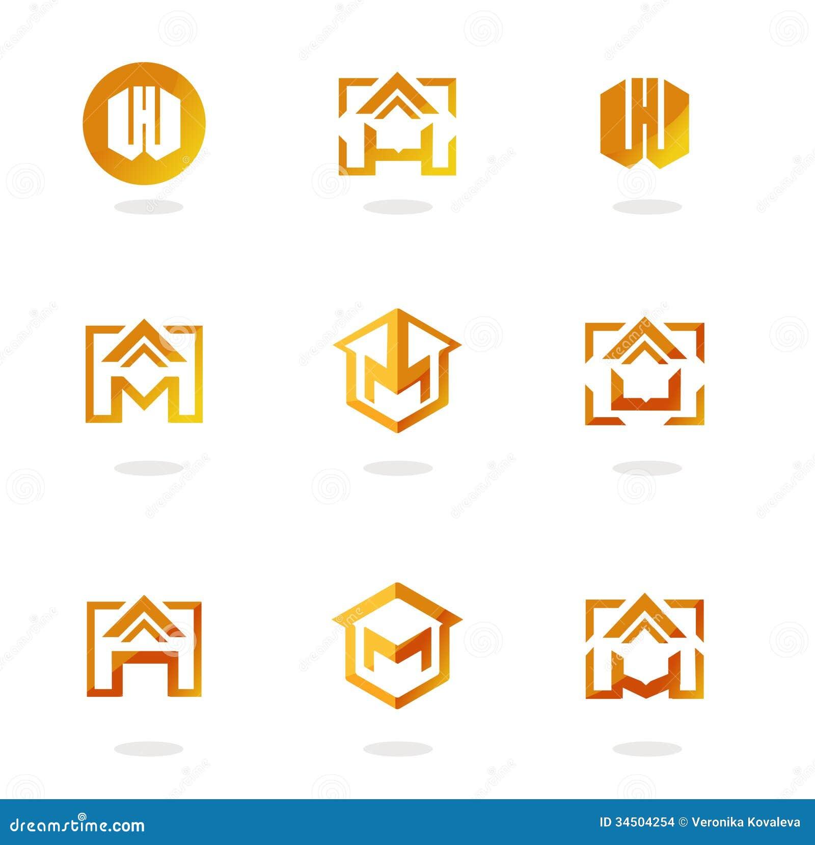 Set Of Abstract Symbols On Construction Topics Stock Vector