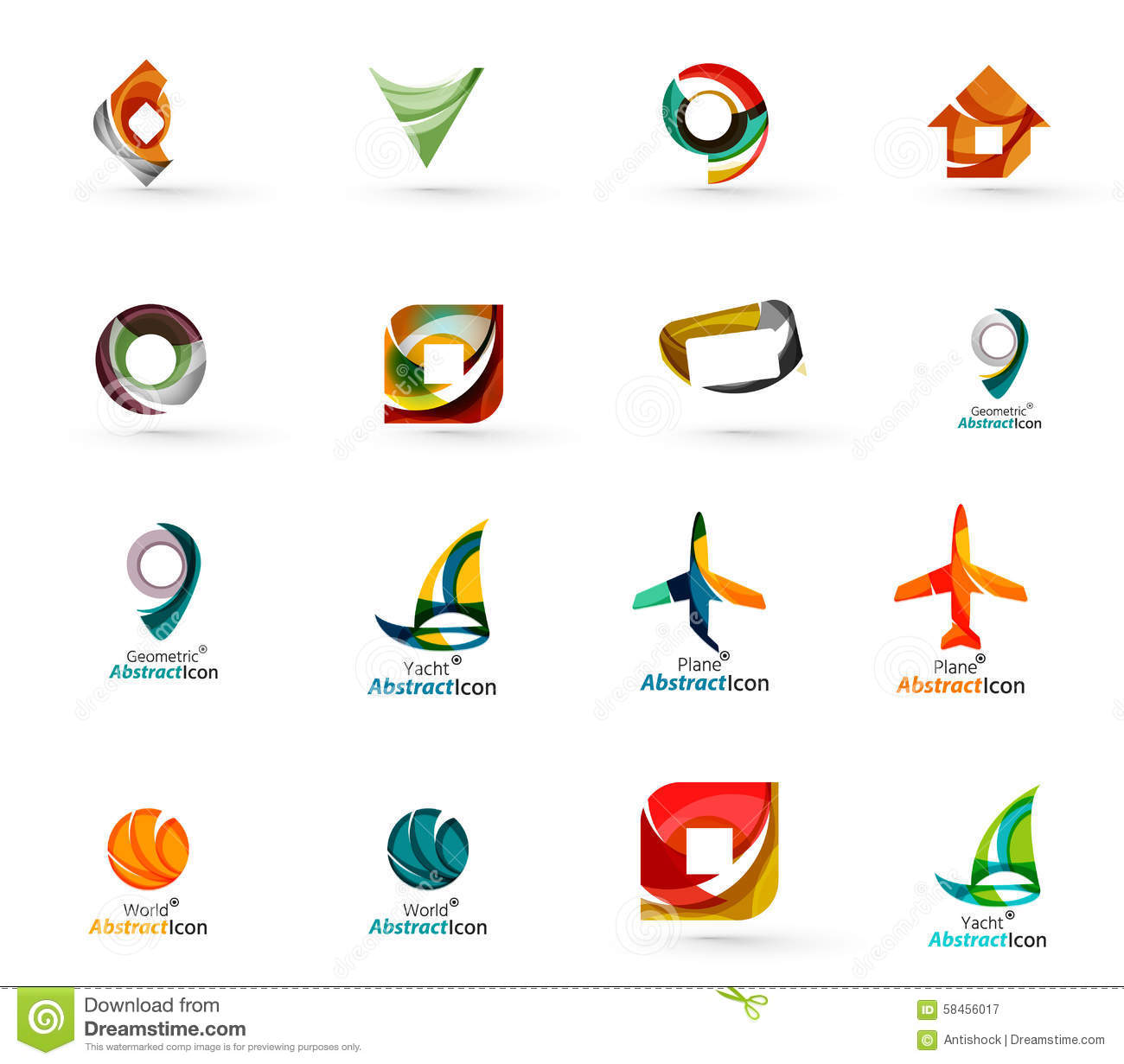 Room Design App For Windows Set Of Abstract Travel Logo Icons Business App Stock