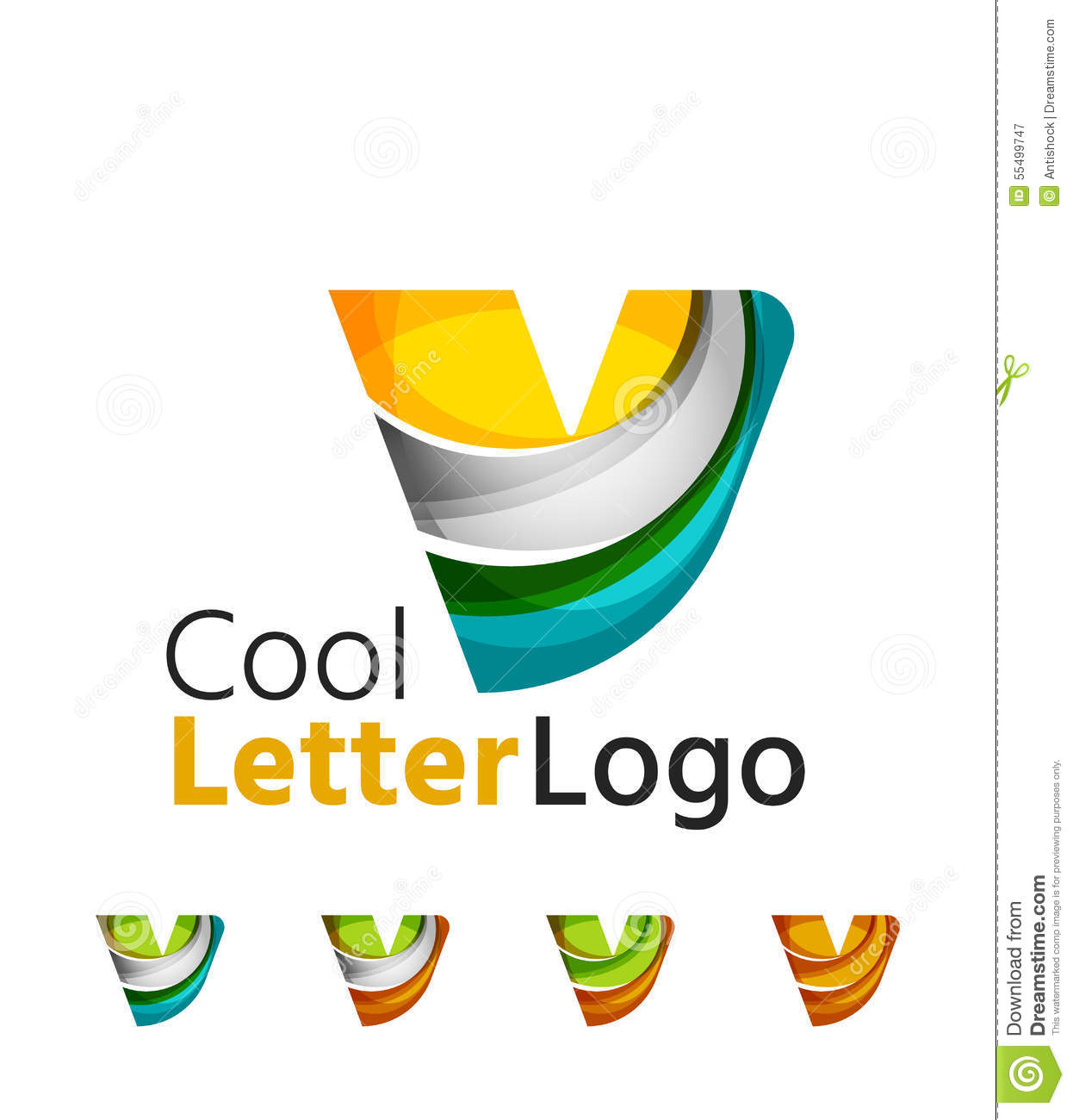 Set Of Abstract V Letter Company Logos. Business Stock ...
