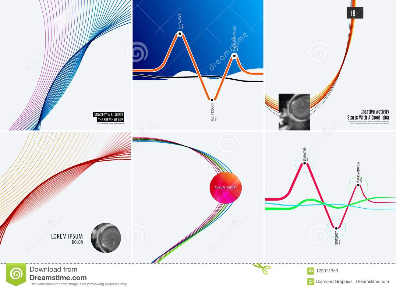 Download Set Of Modern Design Abstract Templates. Creative Business Background With Colourful Waves Lines For Promotion, Banner Stock Vector - Illustration of discount, illustration: 122071359