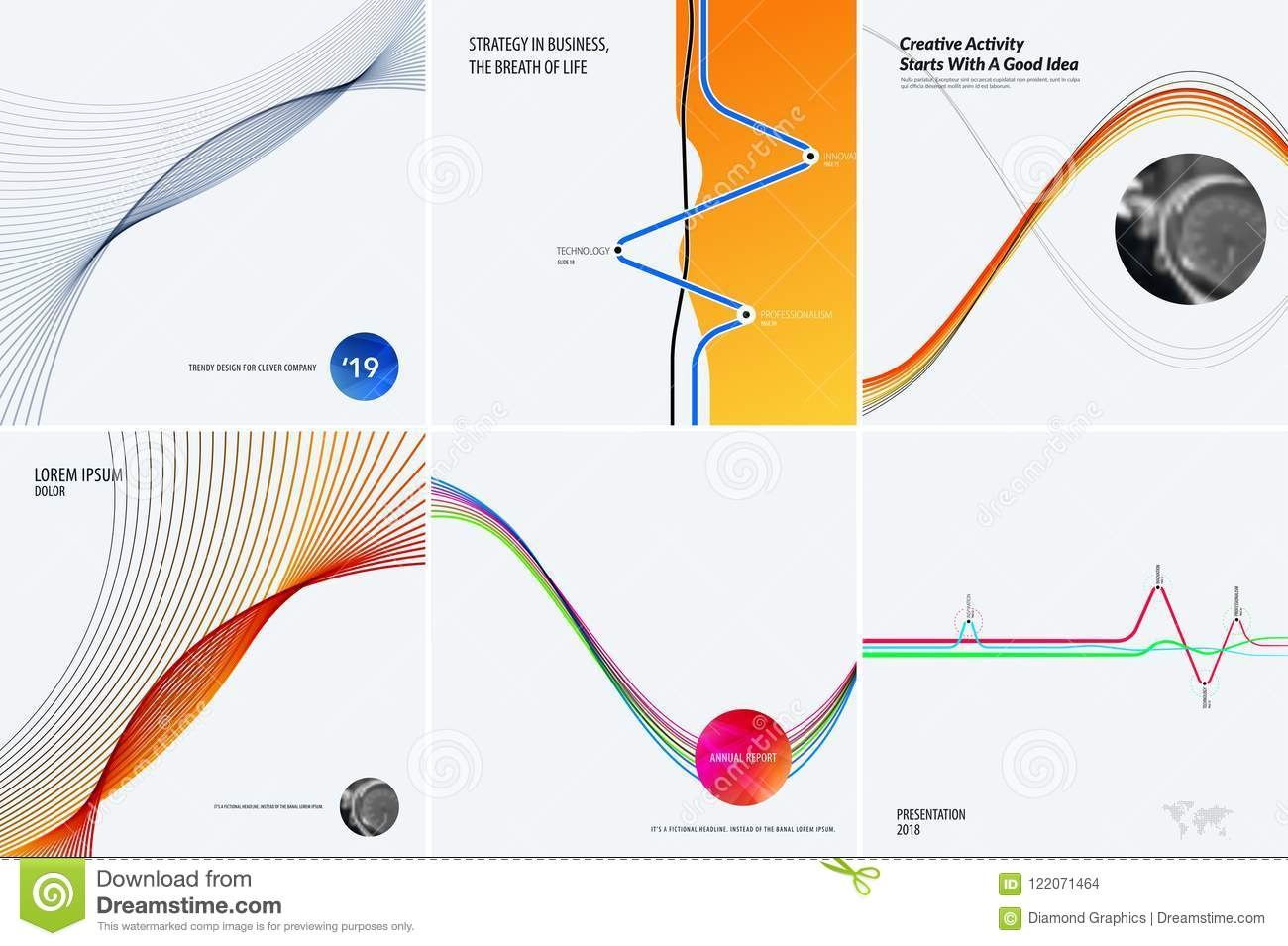 Download Set Of Modern Design Abstract Templates. Creative Business Background With Colourful Waves Lines For Promotion, Banner Stock Vector - Illustration of concept, badge: 122071464