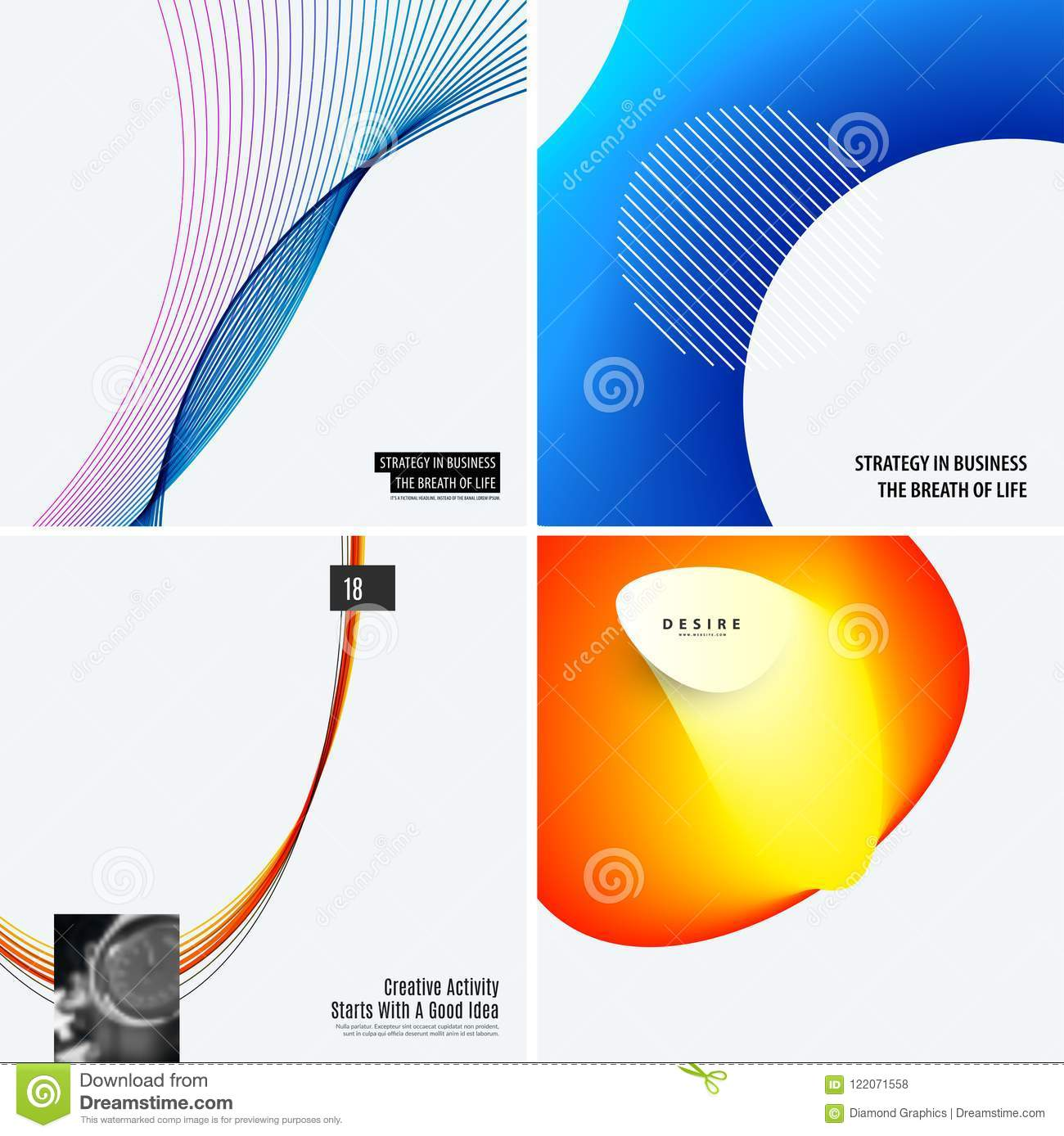 Download Set Of Modern Design Abstract Templates. Creative Business Background With Colourful Waves Lines For Promotion, Banner Stock Vector - Illustration of discount, branding: 122071558