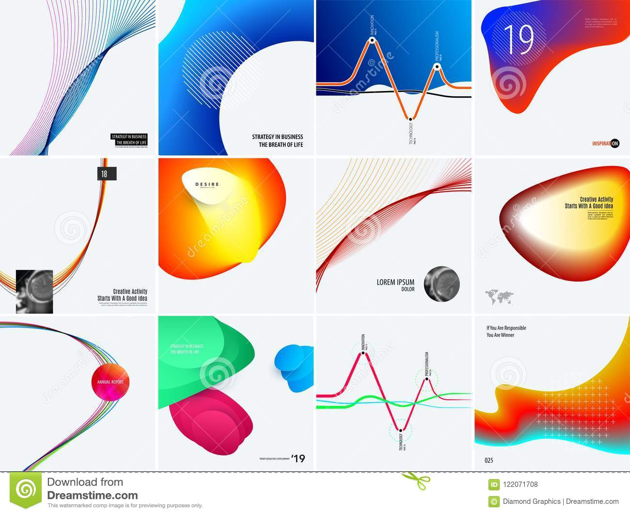 Download Set Of Modern Design Abstract Templates. Creative Business Background With Colourful Waves Lines For Promotion, Banner Stock Vector - Illustration of business, price: 122071708