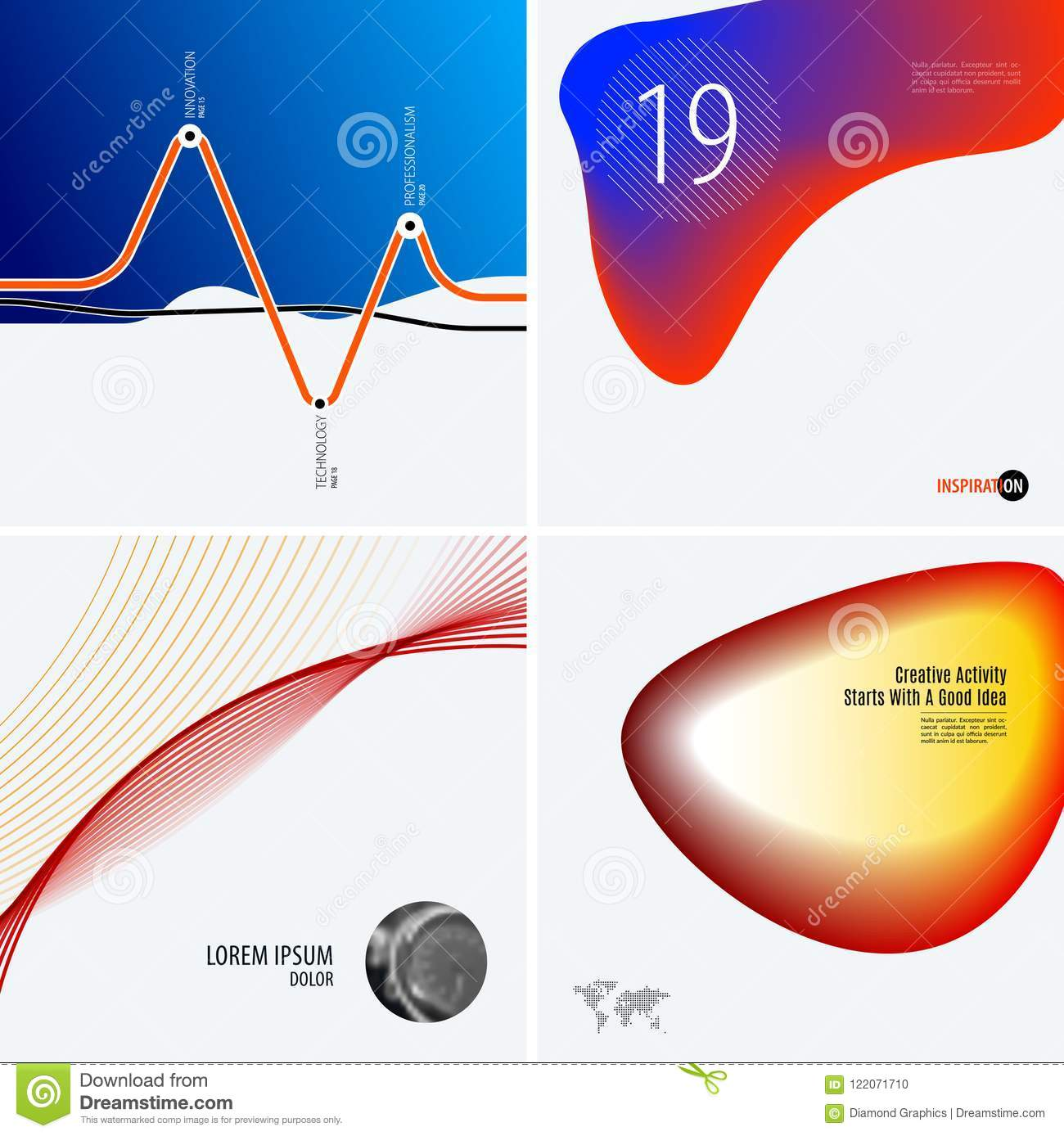Download Set Of Modern Design Abstract Templates. Creative Business Background With Colourful Waves Lines For Promotion, Banner Stock Vector - Illustration of concept, price: 122071710