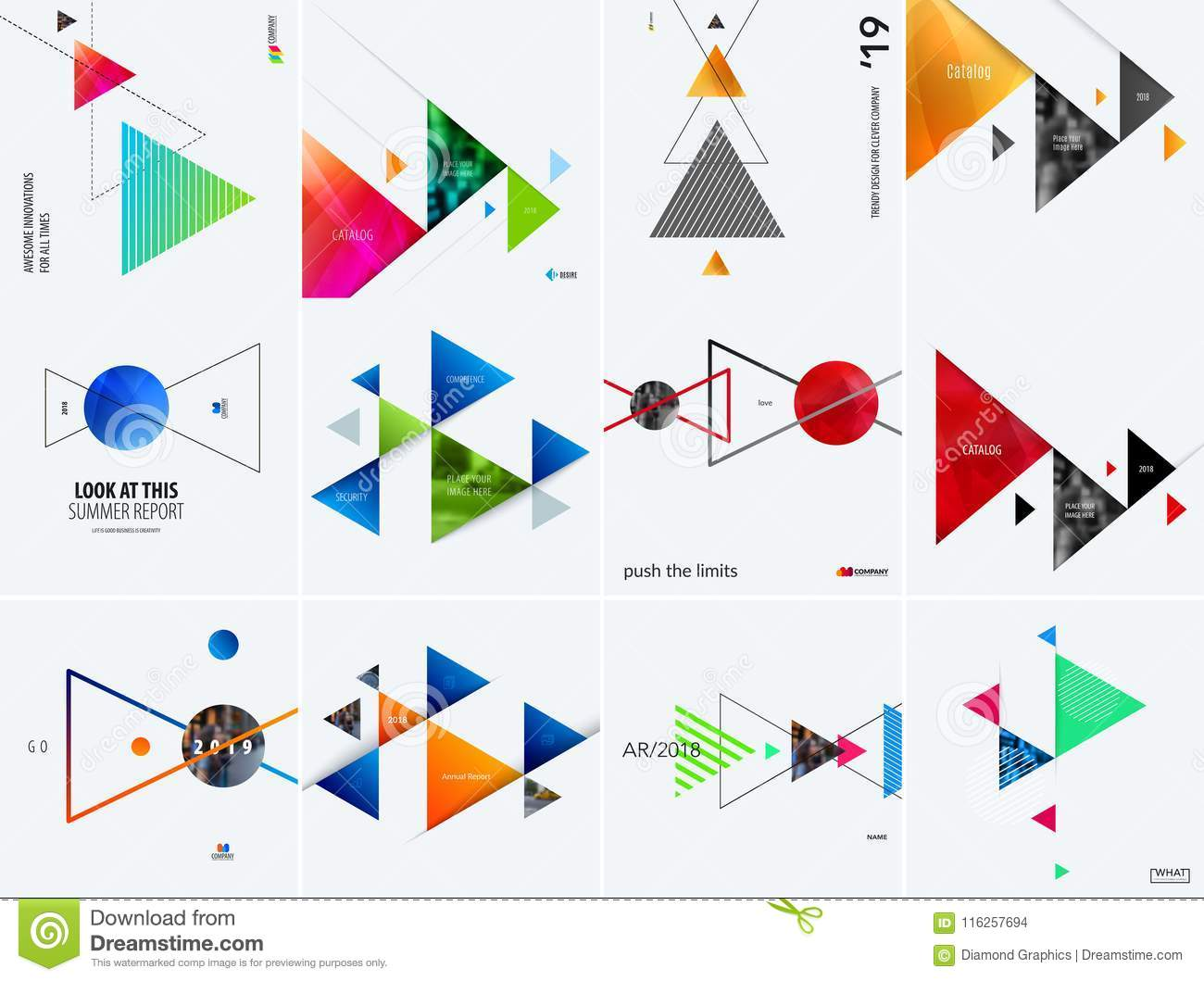 Set of modern design abstract templates. Creative business background with colourful triangles for promotion, banner