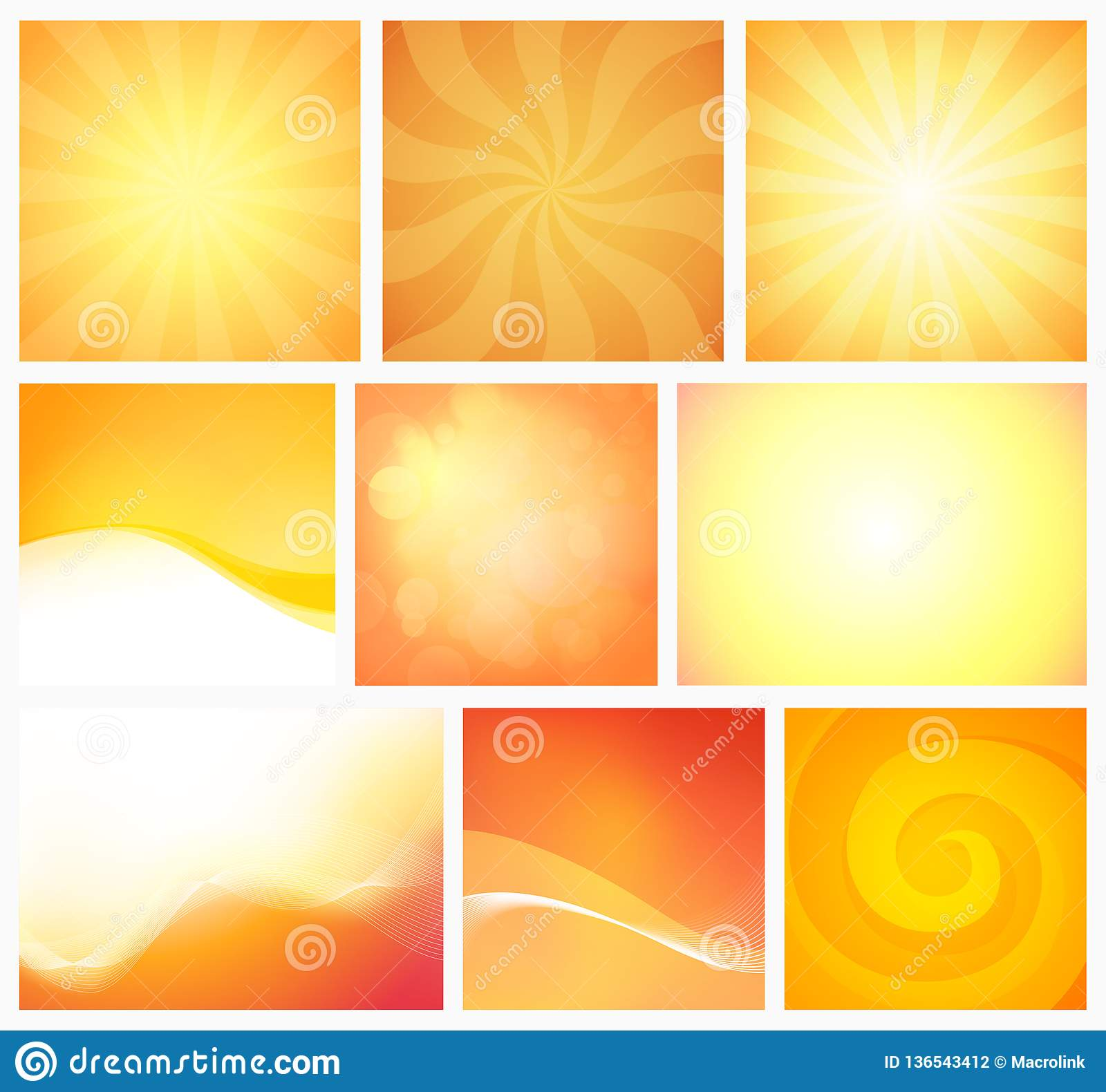 Set Of Abstract Yellow Orange Backgrounds Warm Colors