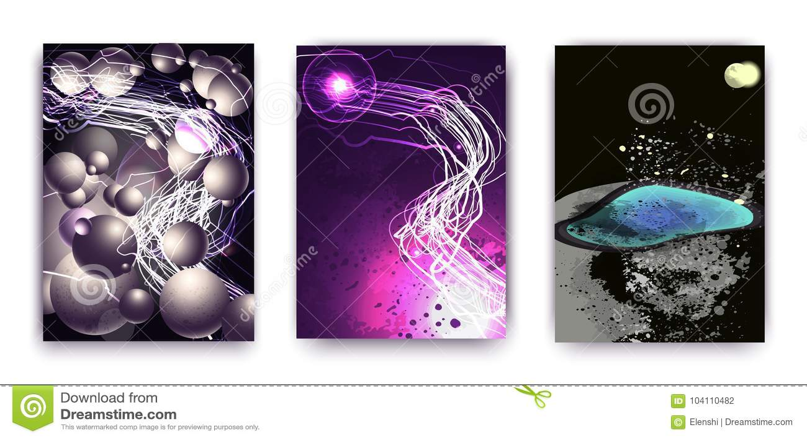 Set 3 abstrakci z pozaziemskim tematem, modni owale, planeta i lampasy, futurystyczny abstrakcjonistyczny projekt