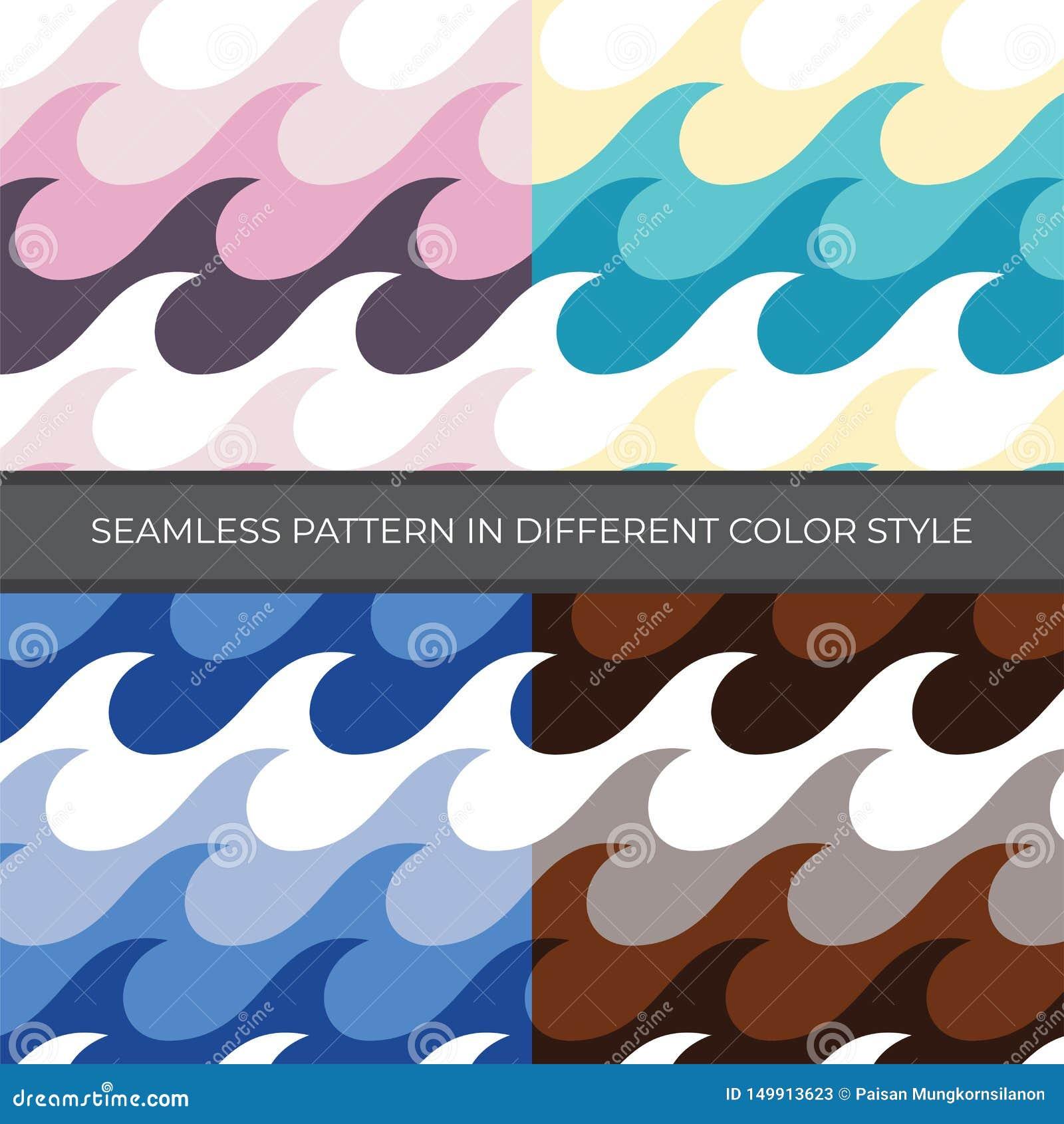 Set Abstrakcjonistyczny Wektorowy Bezszwowy wzór z cztery kolorów stylem Kolor jest menchią, zieleń, błękit, Brown