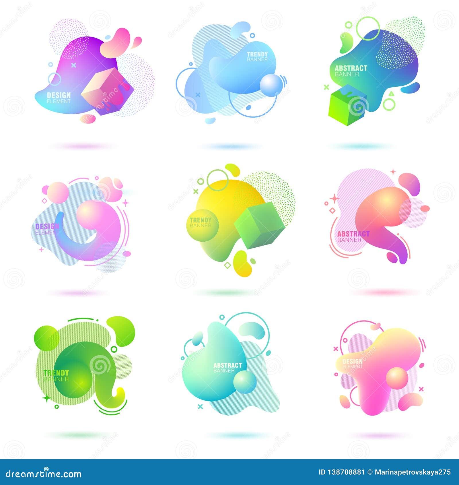 Set abstrakt, nowożytny, rzadkopłynny, modny gradientowy sztandar, Dynamical barwione formy z liniami, bieżącego ciecza kształtam