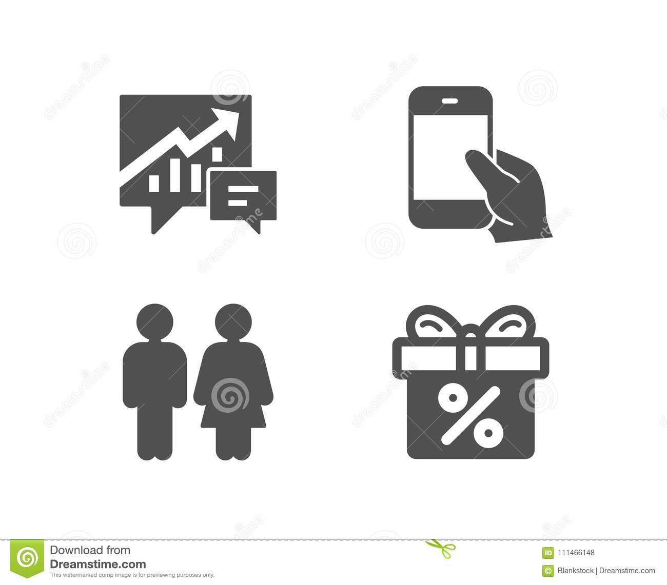 Accounting Hold Smartphone And Restroom Icons Discount Offer Sign