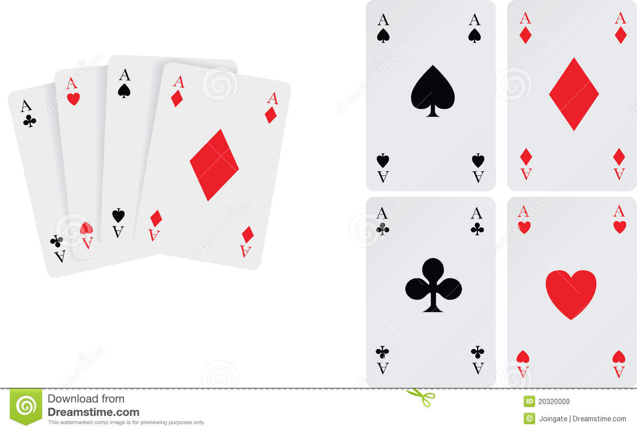 Set of aces playing cards royalty free stock images for Planning poker cards template