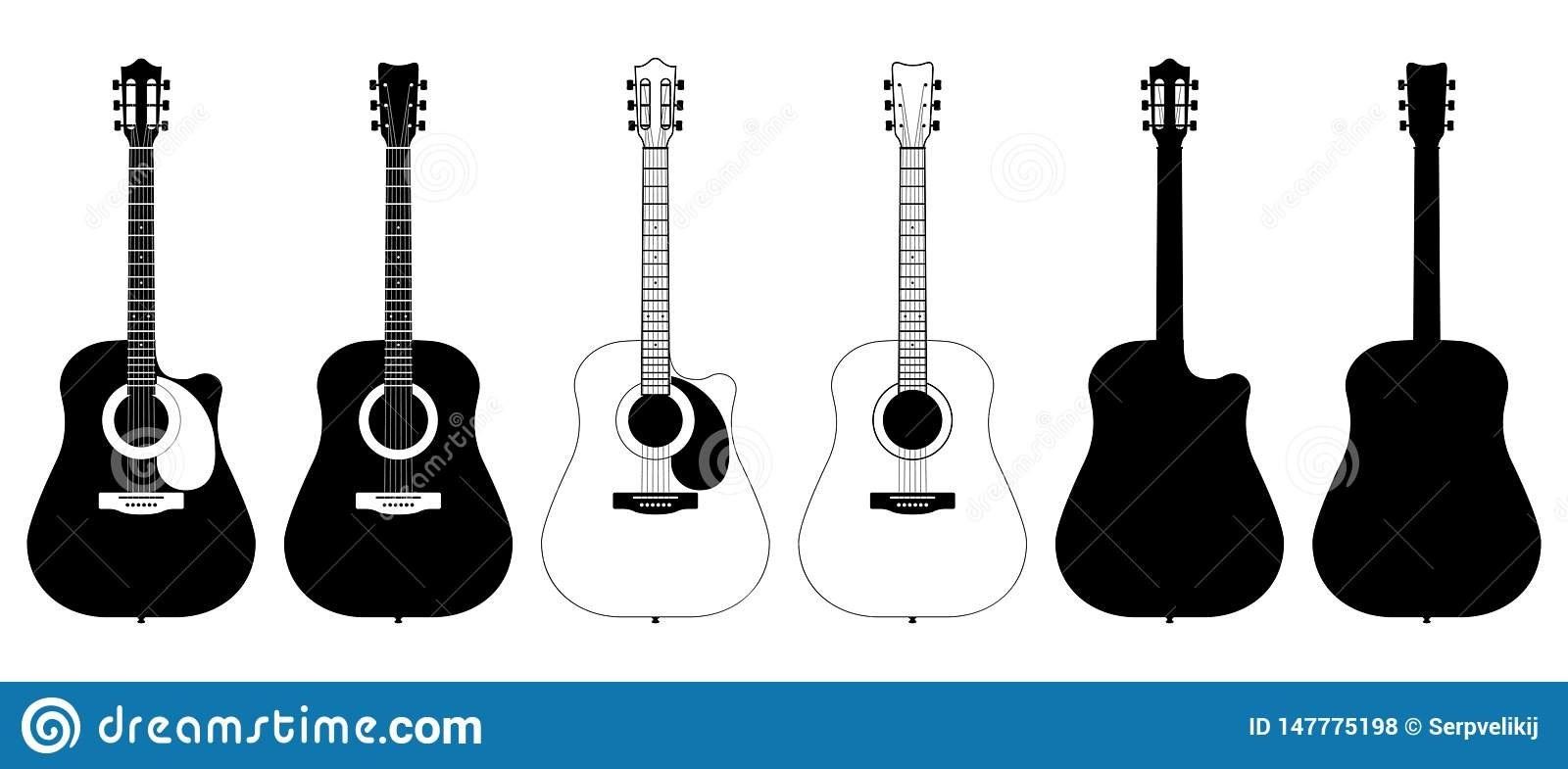 A Set Of Acoustic Classic Guitars Of Black On White Background String Musical Instruments Stock Vector Illustration Of Isolated Instrument 147775198