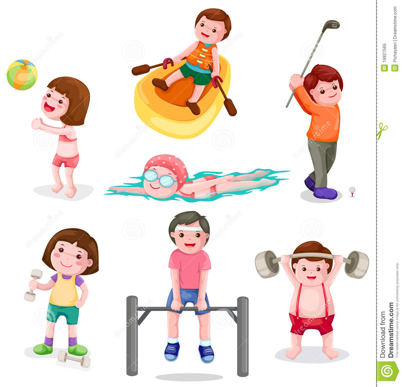 Set of activity exercise stock vector. Image of drawing ...