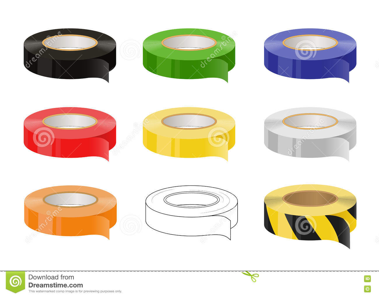 Set of adhesive tapes: black, green, blue, red, yellow, grey, orange, black and yellow caution tape. Isolated illustration. Vector