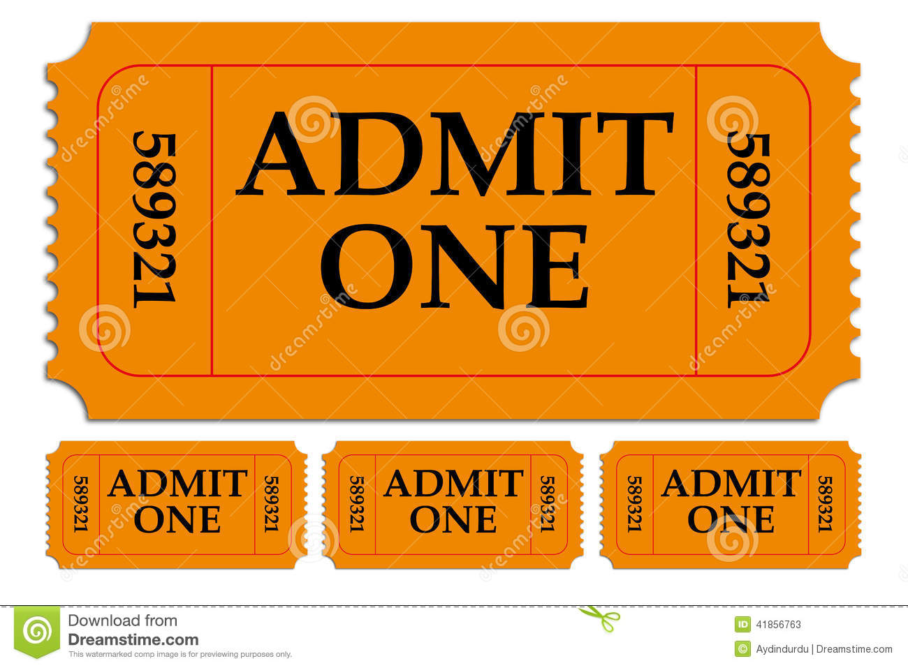 set of admit one paper tickets stock image image of show entry
