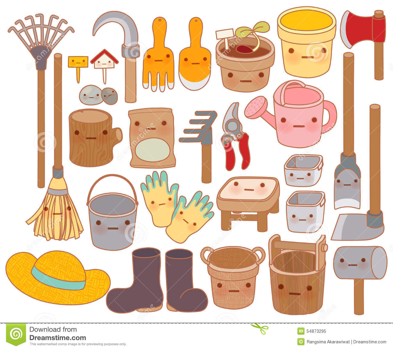 Royalty Free Illustration. Download Set Of Adorable Garden Tools Cartoon ,  Cute ...