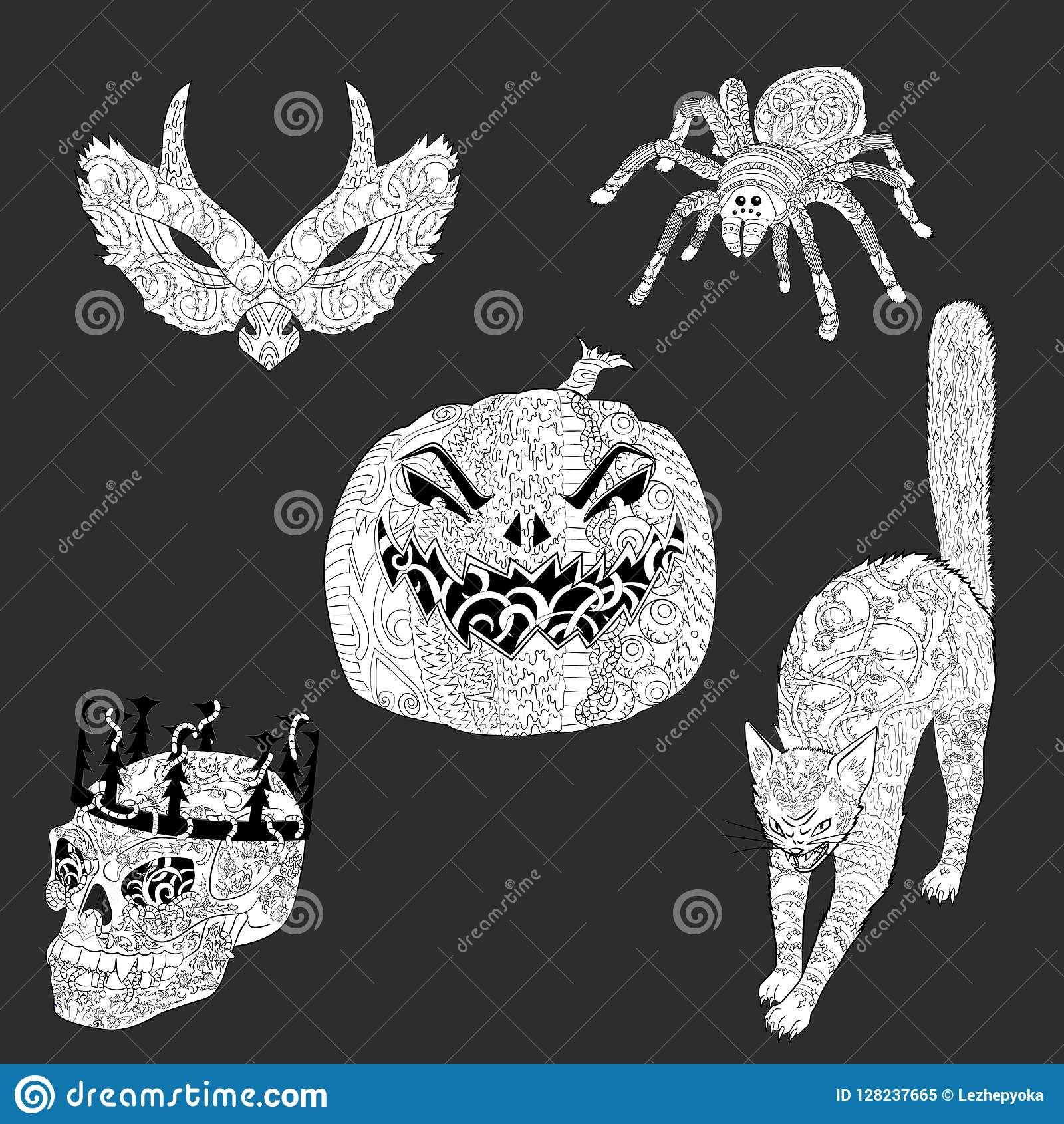 Set Of Anti Stress Coloring Pages For Halloween Stock Vector