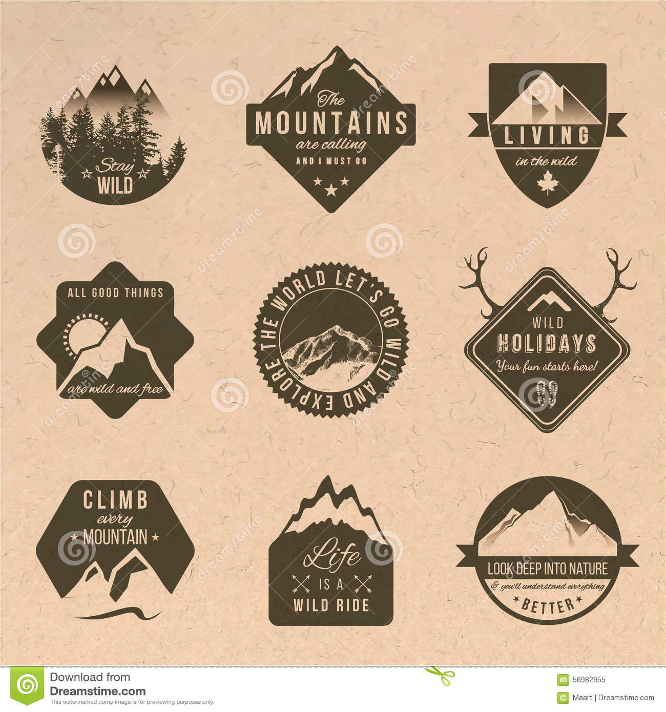 Set of adventure labels in vintage style stock vector for Different design