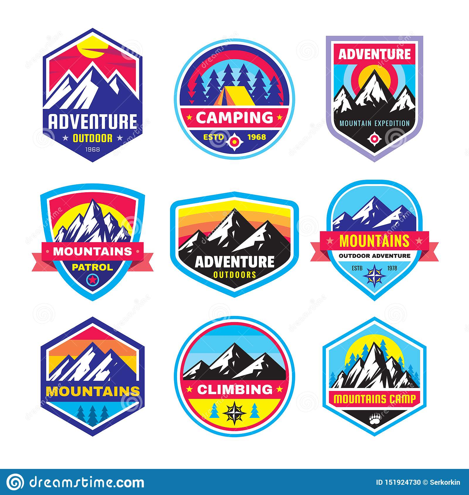 Set of adventure outdoor concept badges, summer camping emblem, mountain climbing logo in flat style. Creative vector illustration