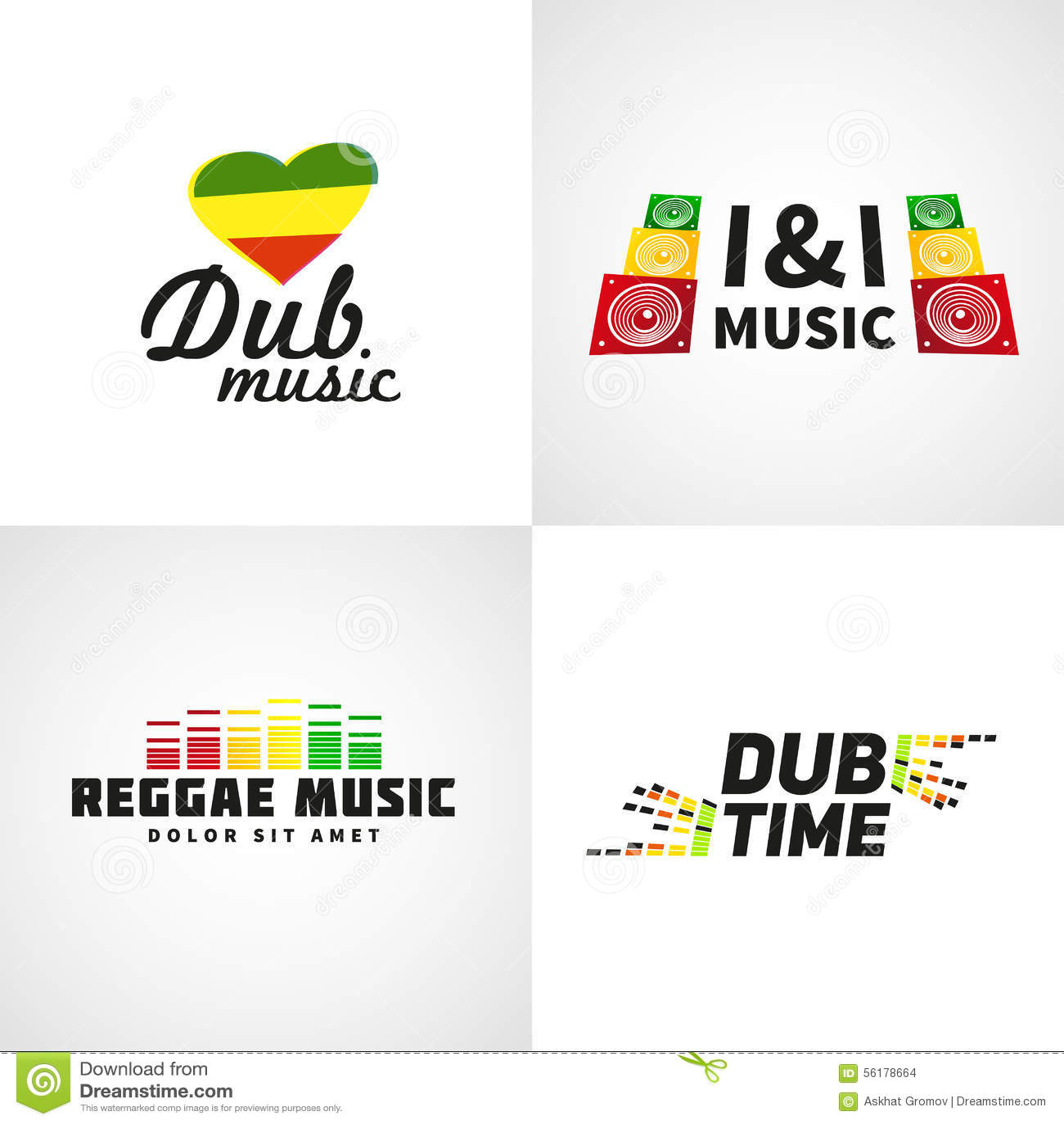 set of africa flag logo design jamaica music stock vector