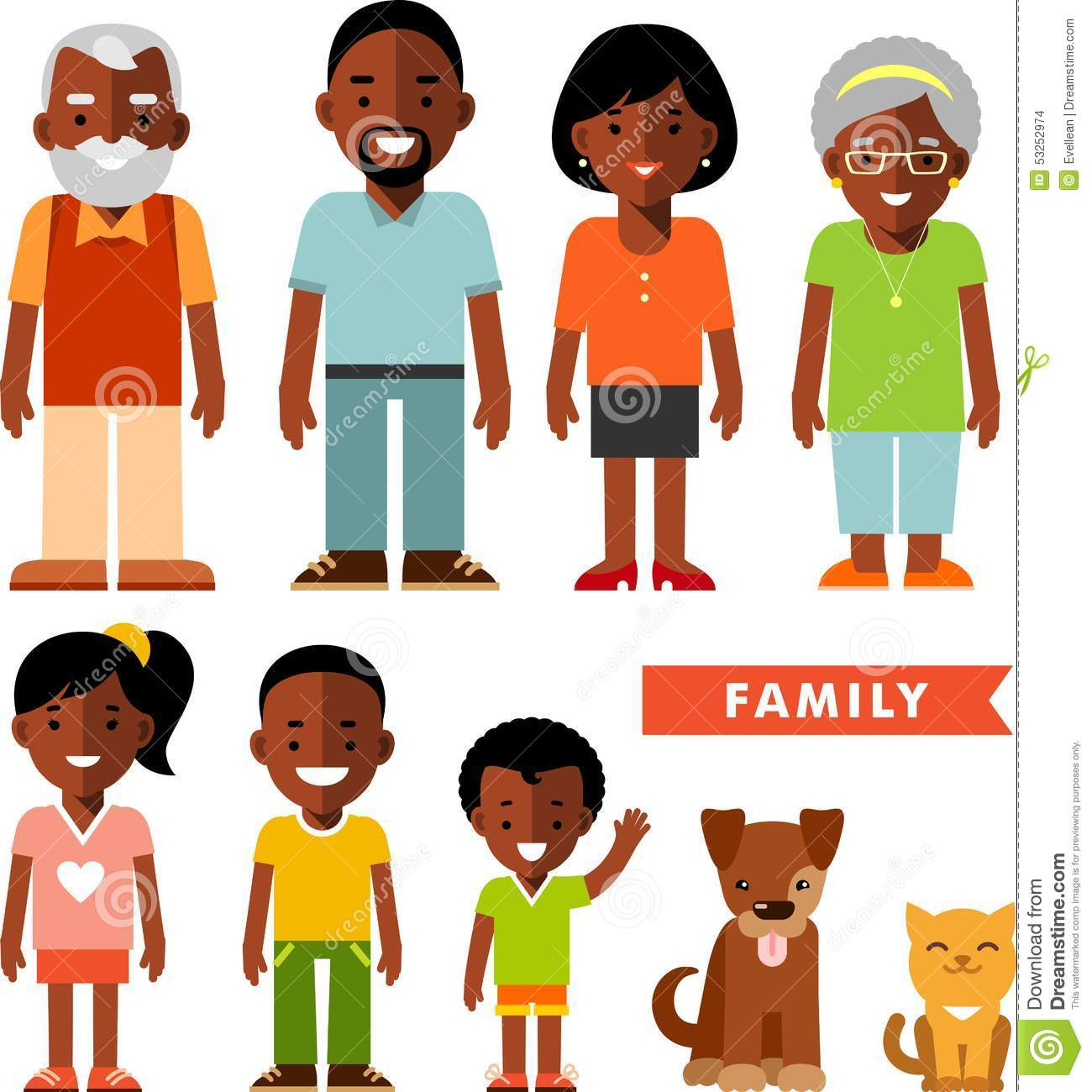Set Of African American Ethnic Family Members In Flat Style Stock ...