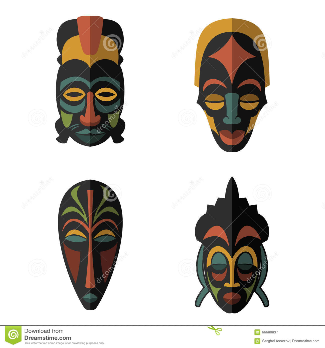 Set Of African Ethnic Tribal Masks On White Background Stock Vector - Illustration of ...