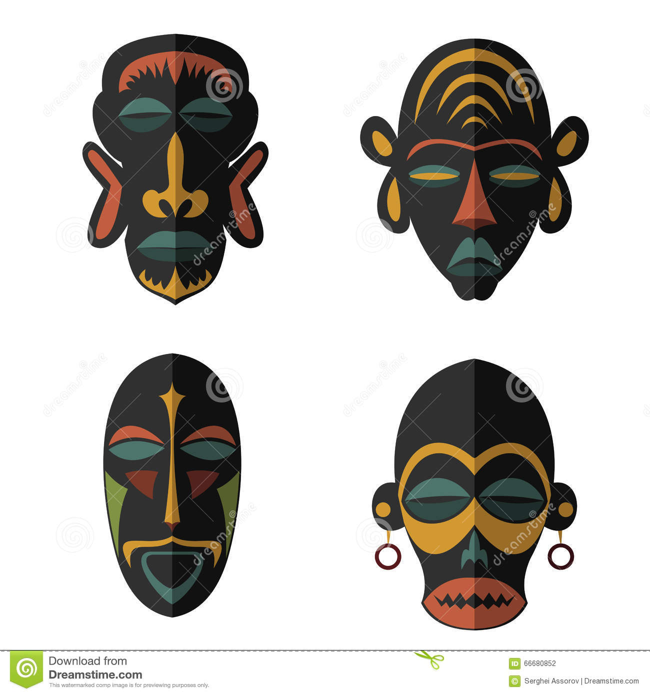 set of african ethnic tribal masks on white background stock vector