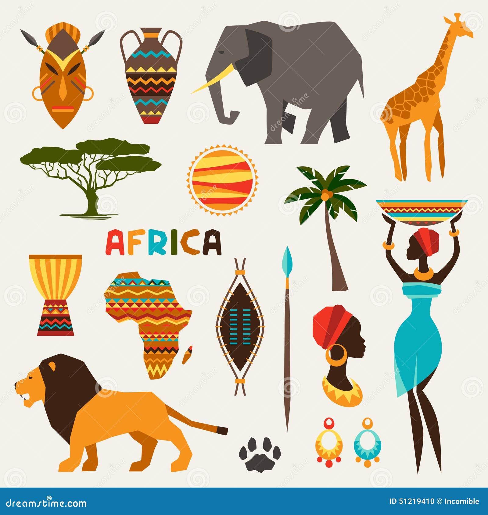 Set afrykańskie etniczne stylowe ikony w mieszkanie stylu