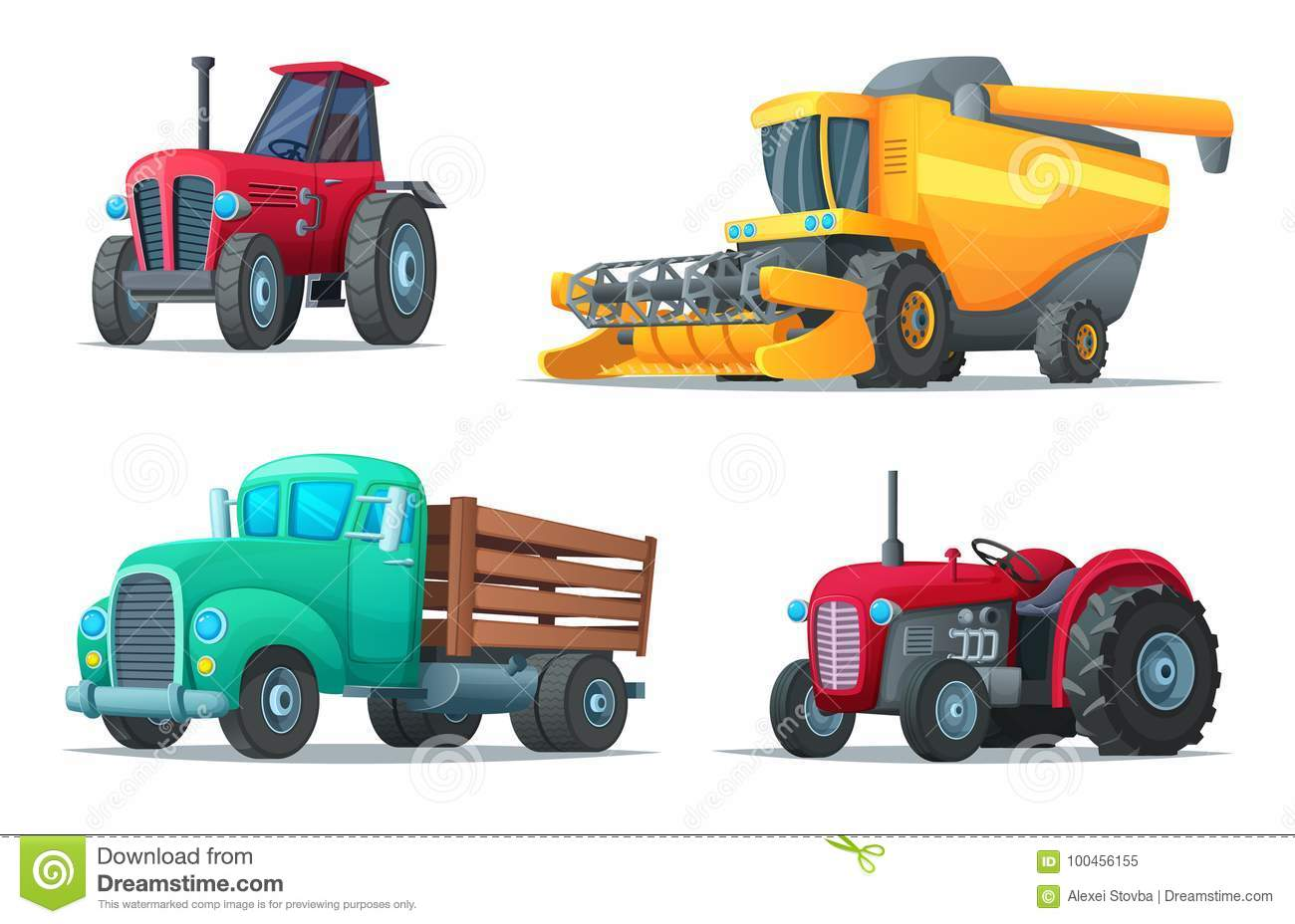 Agricultural Machinery Design : Set of agricultural transport farm equipment tractors