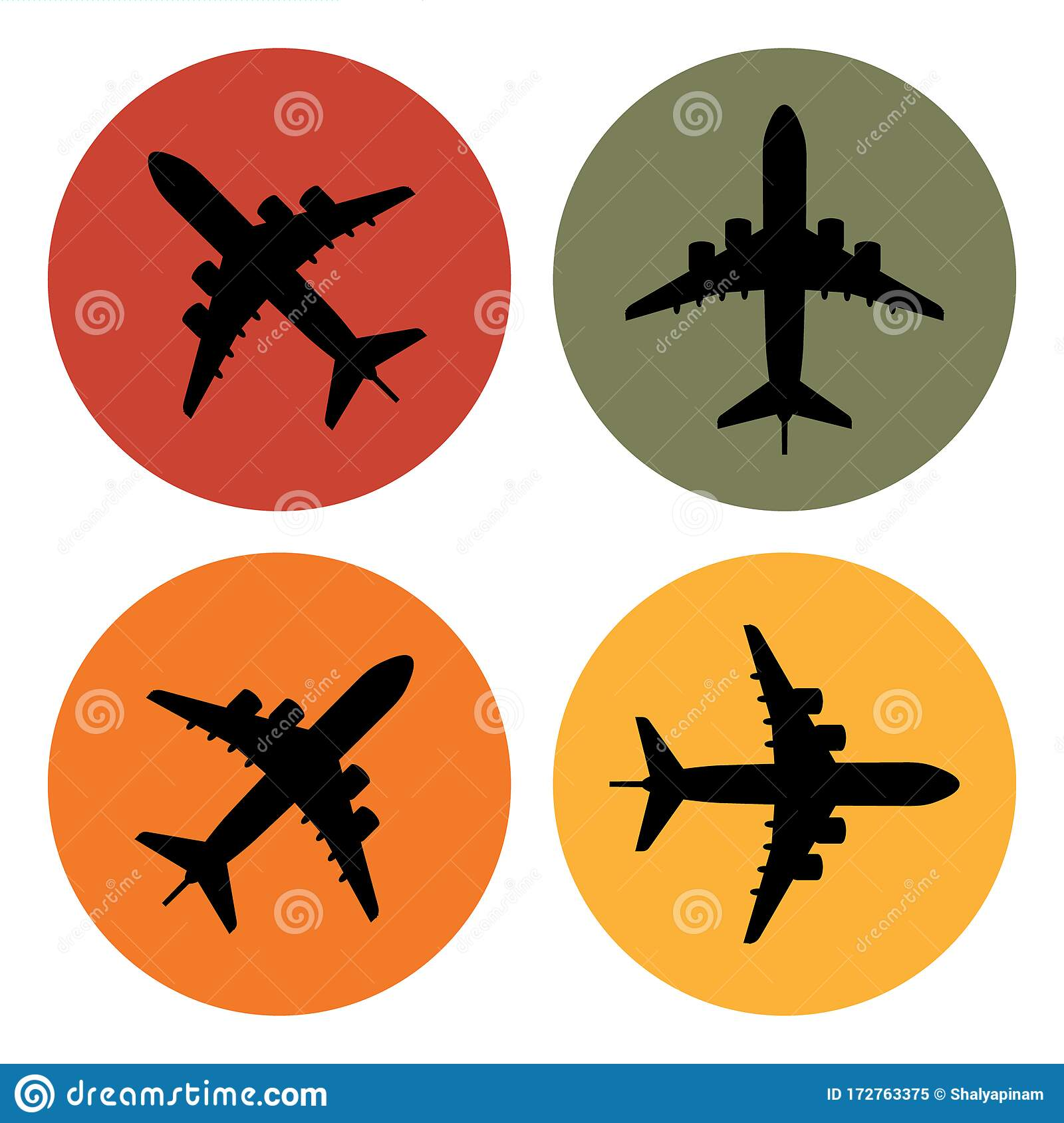 Set Of Airplane Icons Colorful Flight Stickers Collection Stock