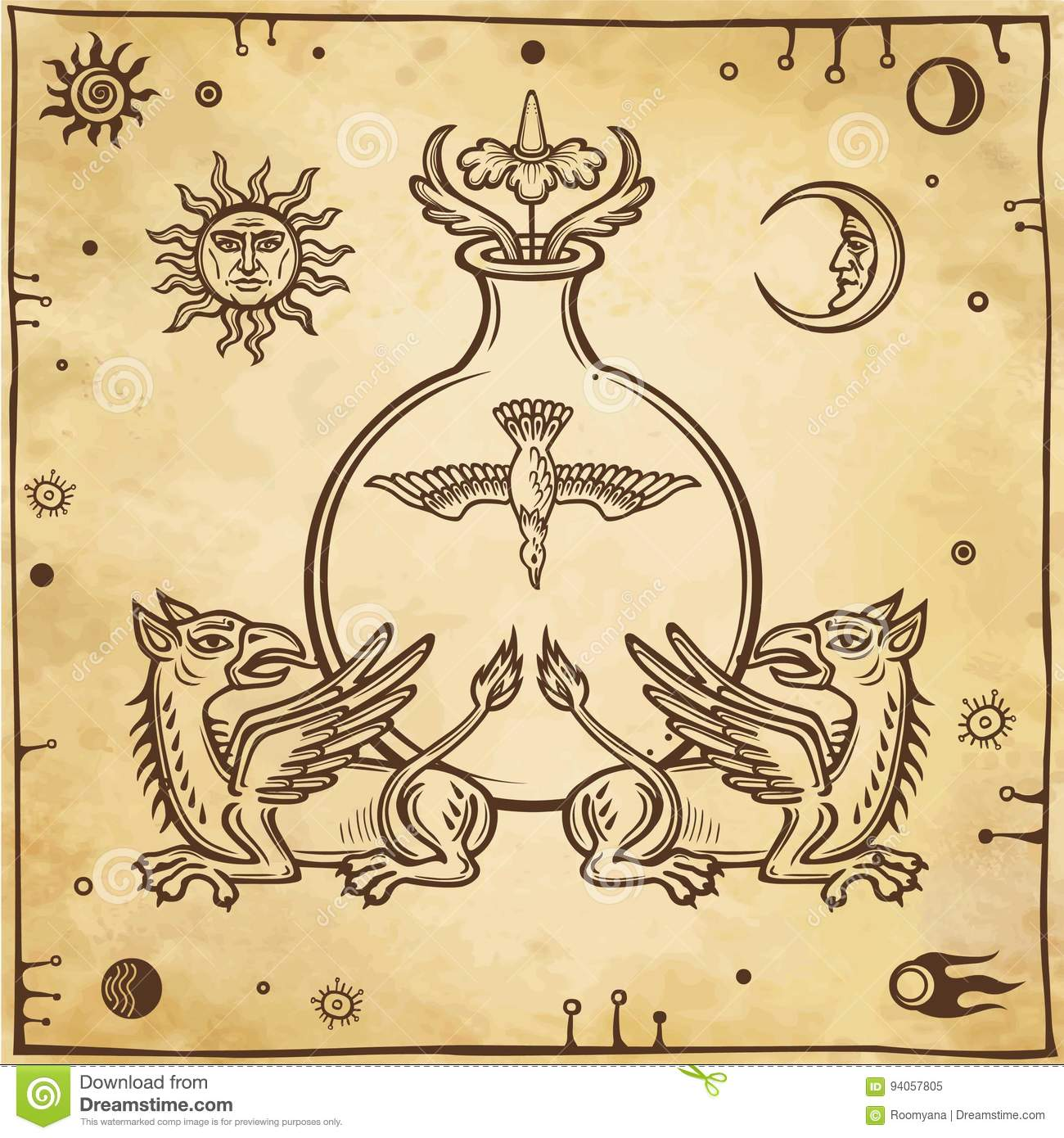 Set Of Alchemical Symbols Mythical Dragons Protect A Test Tube With