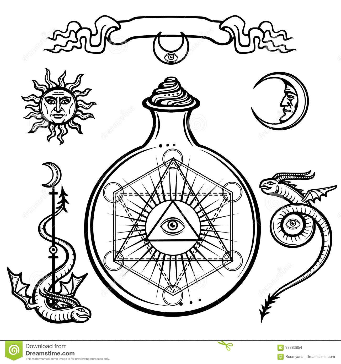 Set Of Alchemical Symbols A Providence Eye In A Flask Chemical