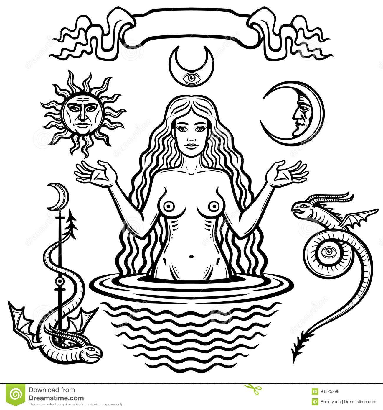 Set Of Alchemical Symbols Young Beautiful Woman Holds Sun And Moon