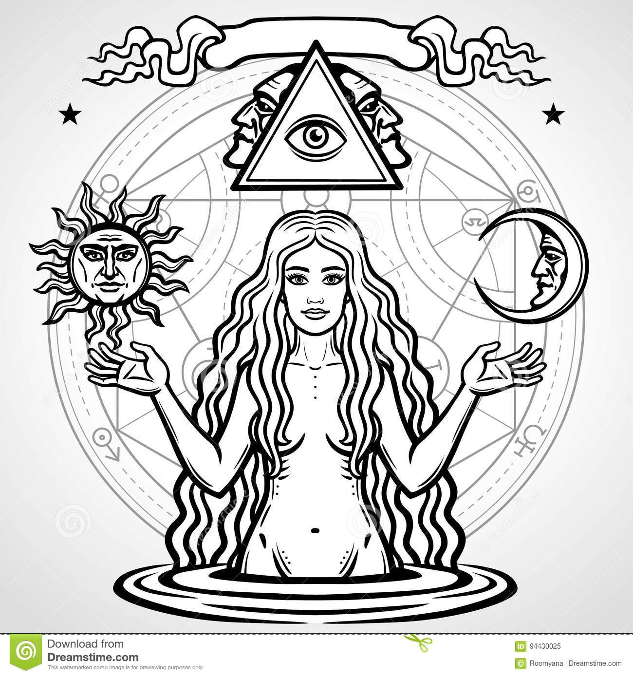 Set of alchemical symbols young beautiful woman holds sun and set of alchemical symbols young beautiful woman holds sun and moon in hand biocorpaavc