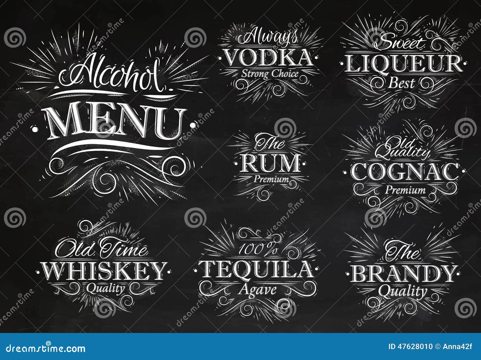 Set alcohol menu chalk