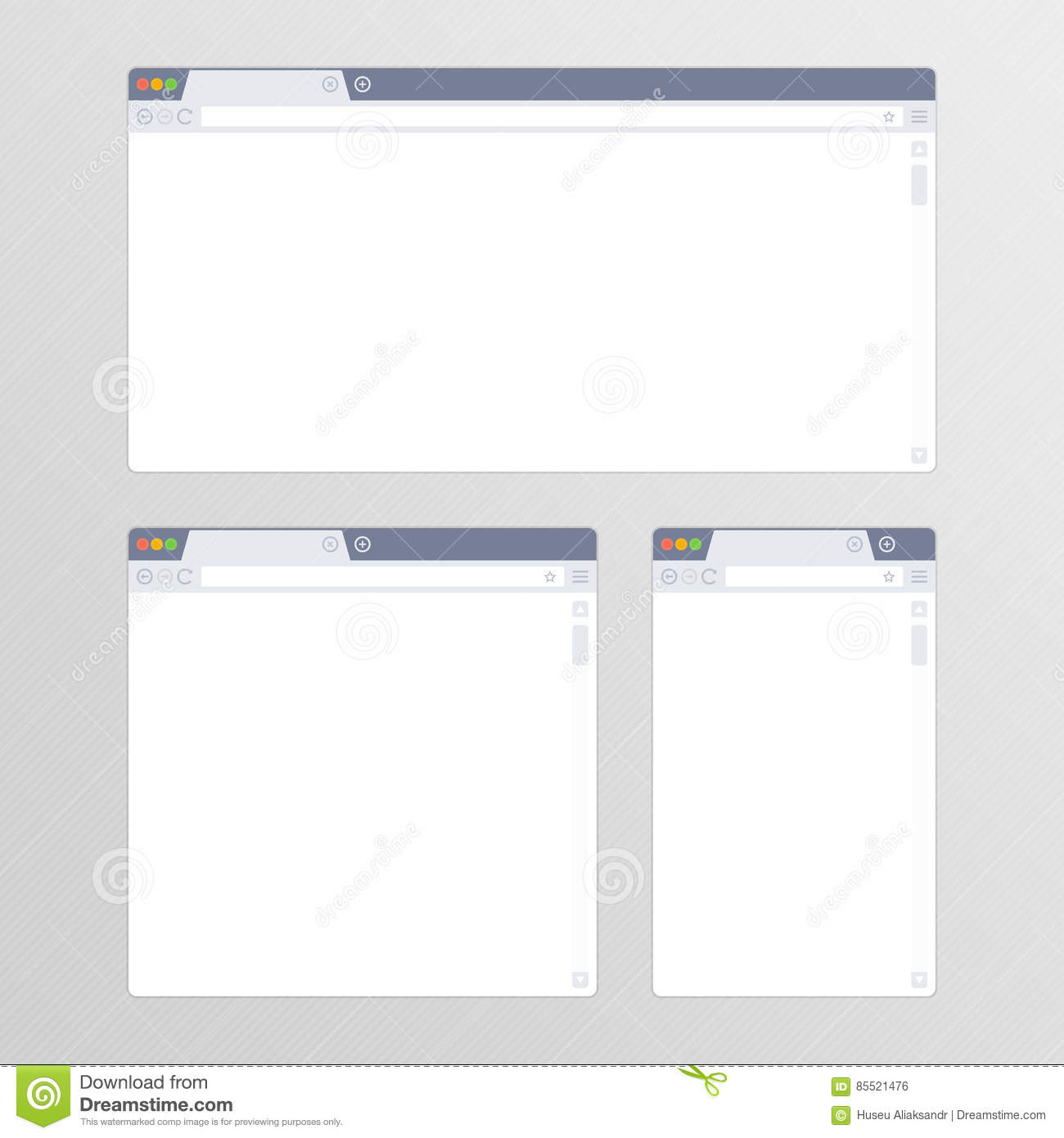 Set of all size browsers  stock vector  Illustration of