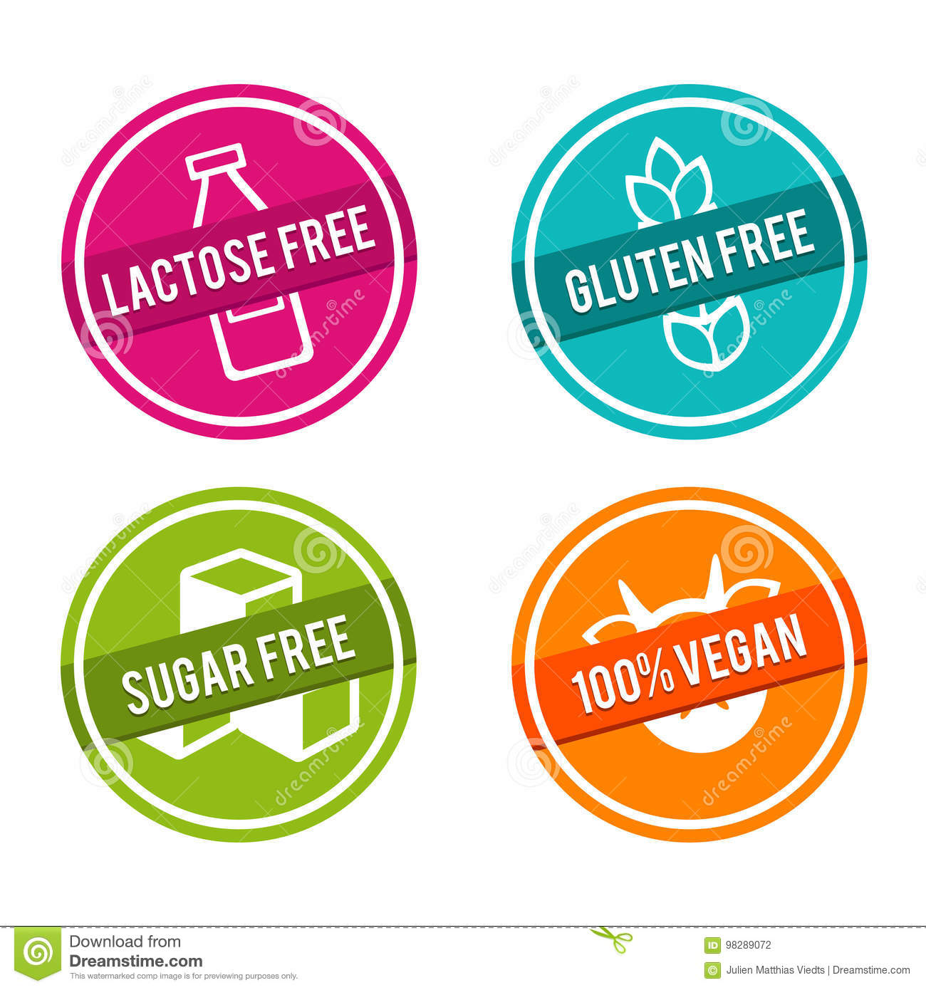 Set of Allergen free Badges. Lactose free, Gluten free, Sugar free, 100  Vegan. Vector hand drawn Signs.