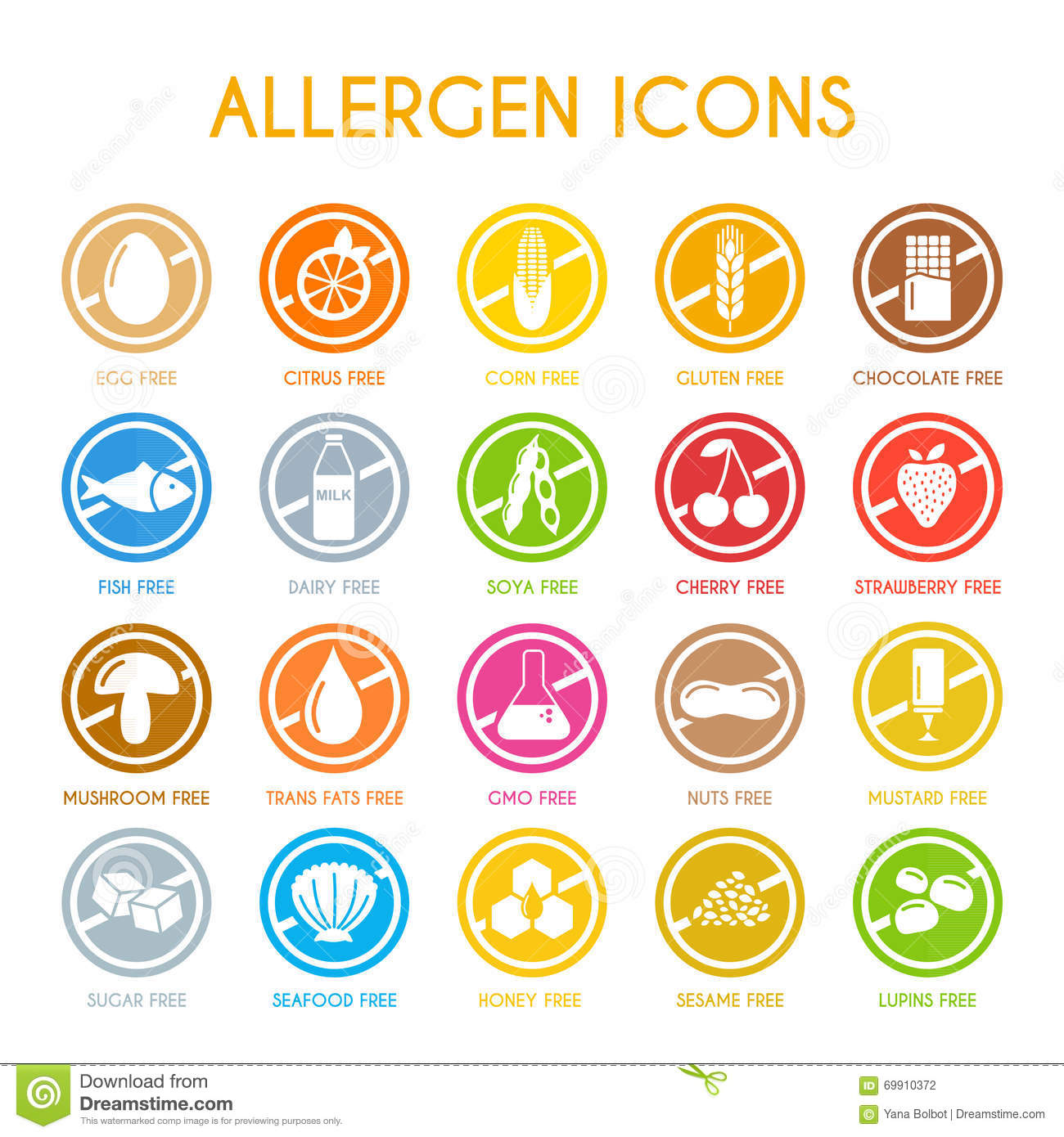 Allergen icons with free egg, citrus, corn, fish, soya, cherry and ...