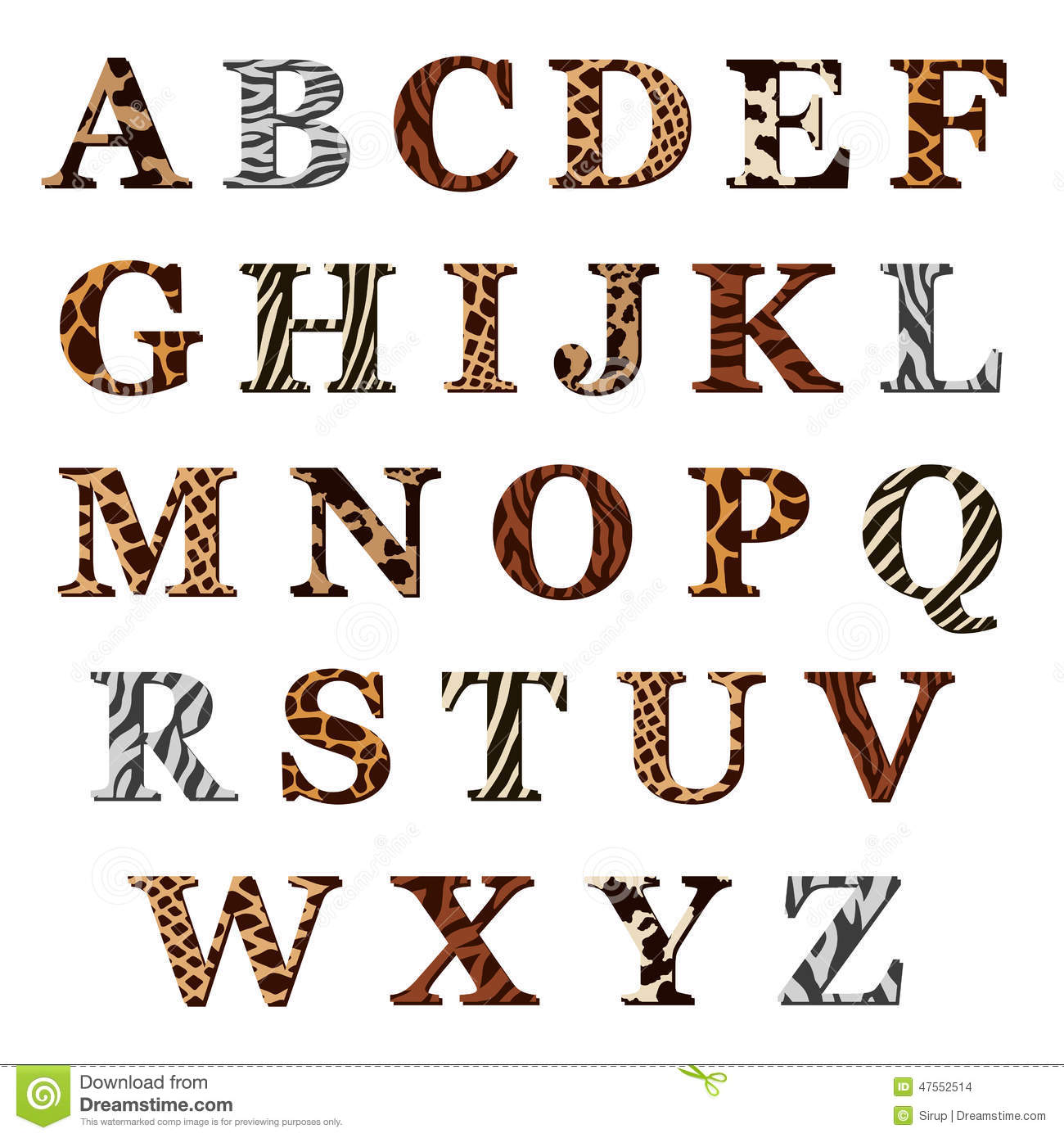 Set Of Alphabet Letters With Animal Fur Patterns Stock ...