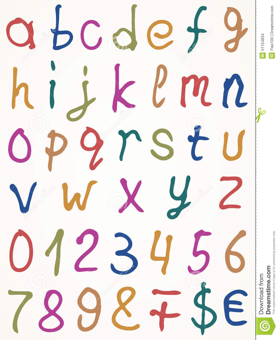 Set Of Alphabet Letters With Numbers And Other Stock Vector