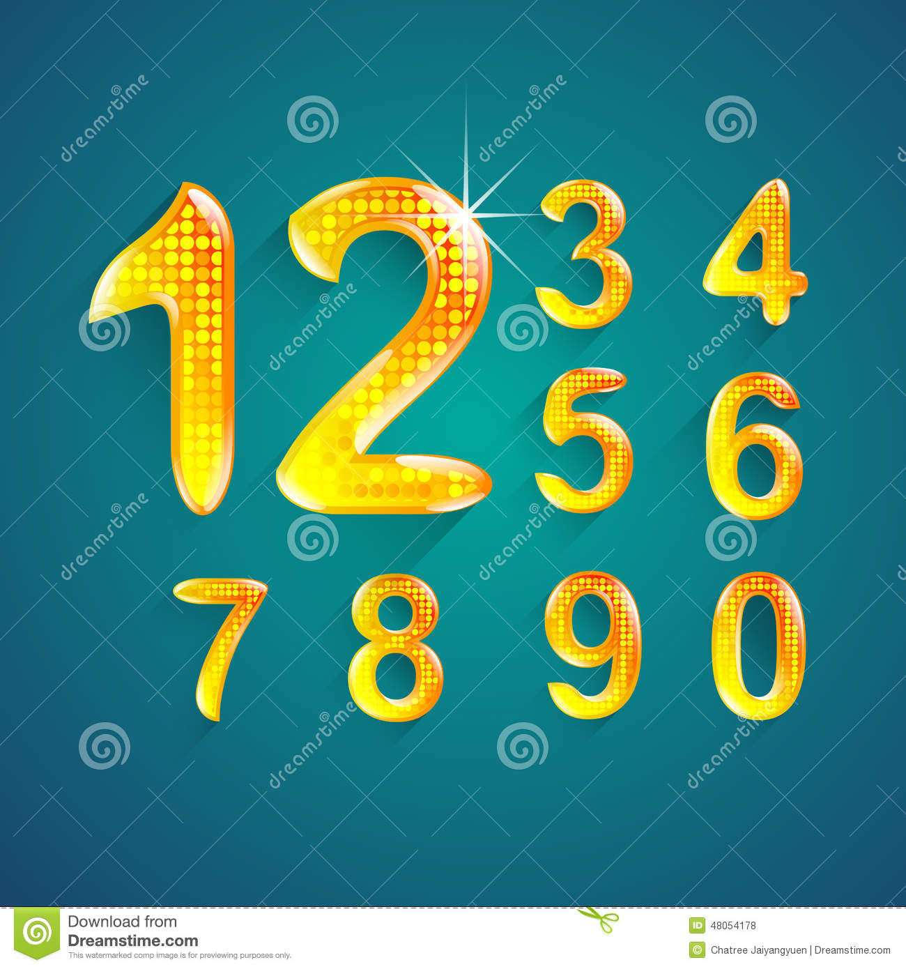 Set Of Alphabet Numbers Crystal Colors Style 0 To 9 Stock Vector ...