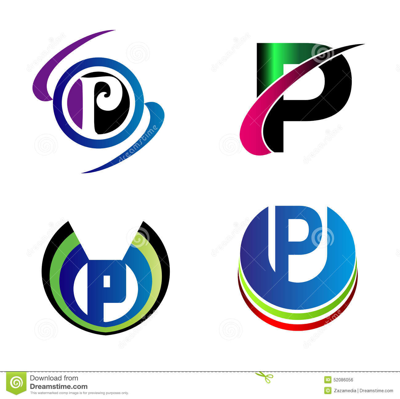 Set Of Alphabet Symbols And Elements Of Letter P, Such A Logo Stock ...