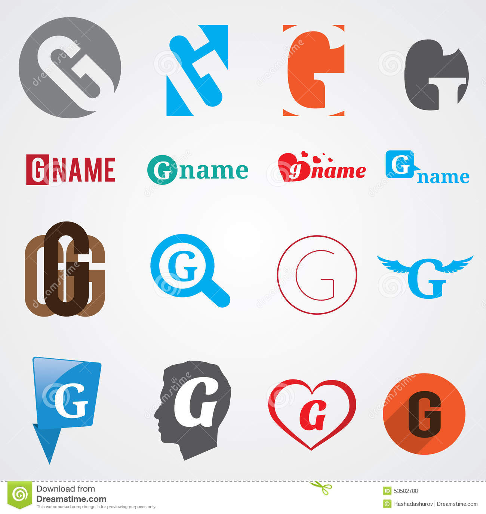 Set Of Alphabet Symbols Of Letter G Stock Vector