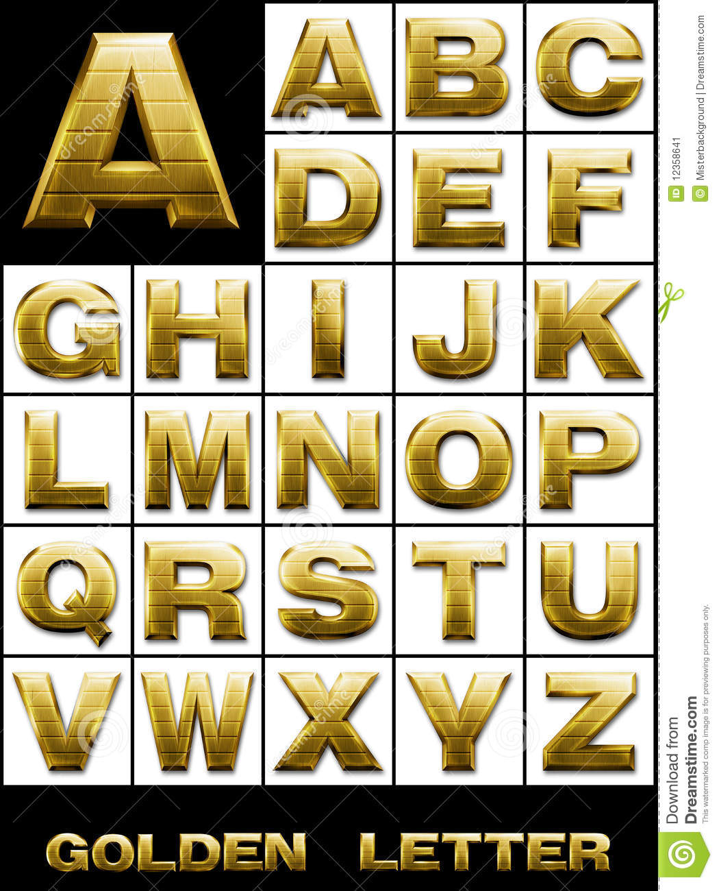 set  alphabetical letters in gold metal stock image